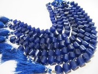 Natural Blue Sapphire Twisted Briolette Beads.
