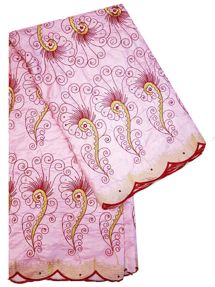 Bazin Embroidery Light Pink with Cotton Emboridery