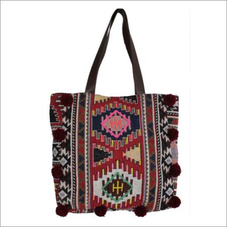 Ladies Cotton Embroidered Handbag