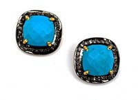 Pave Diamond Set Turquoise Cushion Shape Gemstone Stud Earrings