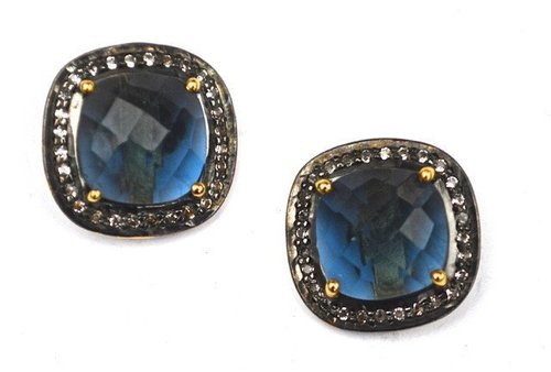 Pave Diamond Set Iolite Quartz Cushion Shape Gemstone Stud Earrings
