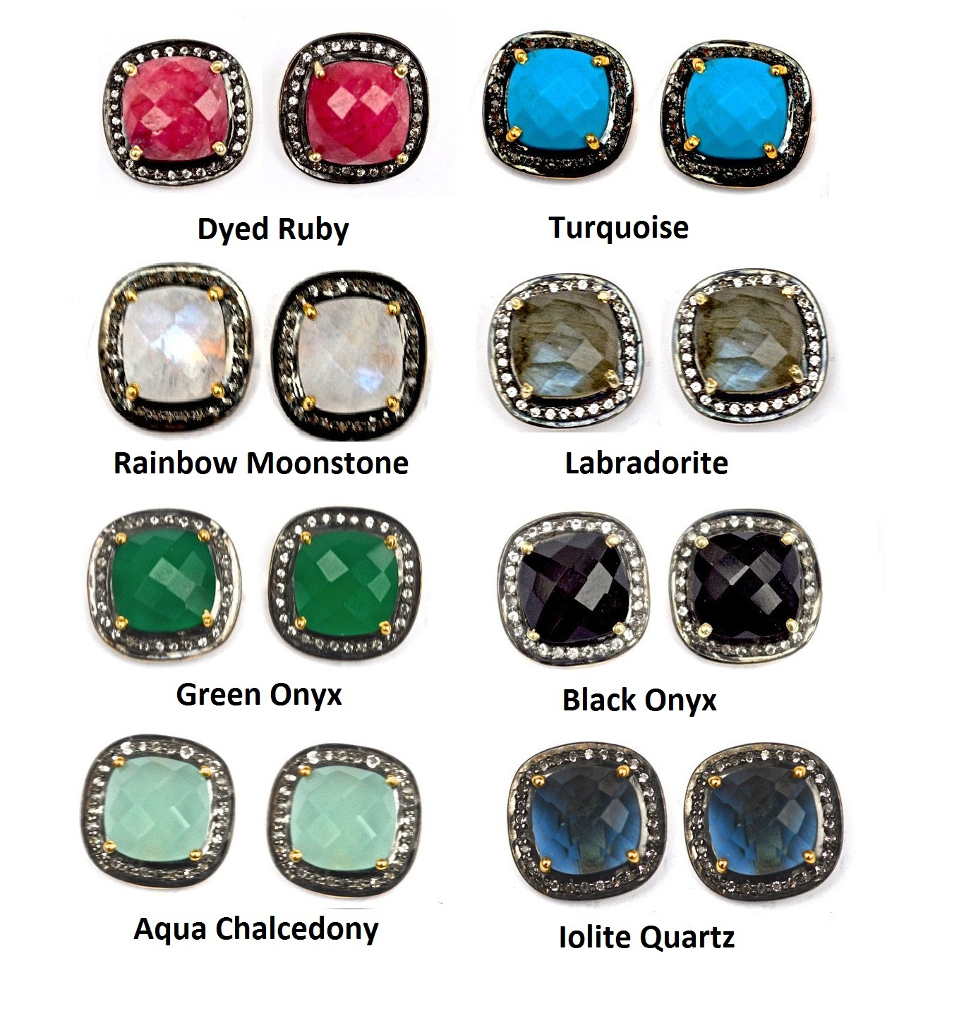 Pave Diamond Set Iolite Quartz Cushion Shape Gemstone Stud Earrings