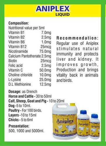 Vitamin, Amino Acid Liquid Feed supplement (aniplex)