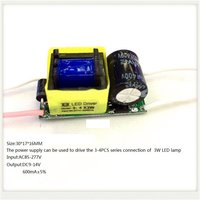 Built-in Led Driver Power Supply 3-4x3w Input Ac85-277v Output Dc9-14v/600ma±5%