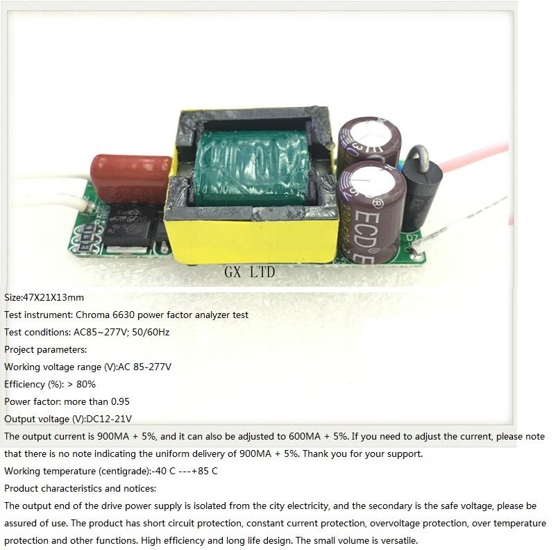 Built-in Led Driver Power Supply 3-6x3w Input Ac 85-277v Output Dc 12v-21v/900ma±5%