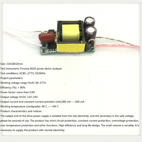 Built-in Led Driver Power Supply 4-7x1w Input Ac 85-277v Output Dc 12v-24v/300ma±5%