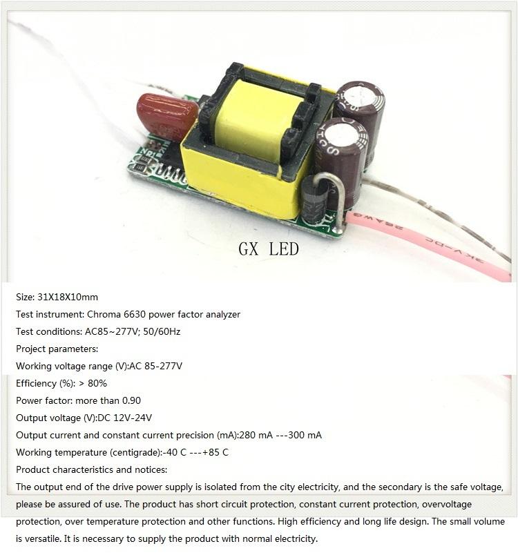 Built-in Led Driver Power Supply 4-7x1w Input Ac 85-277v Output Dc 12v-24v/300ma±5%