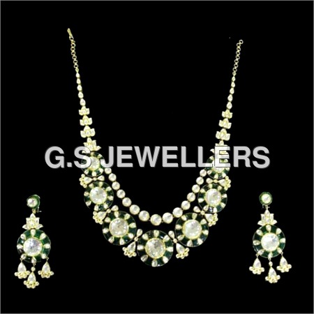 Kundan Meena Polki Chandbali Necklace Set