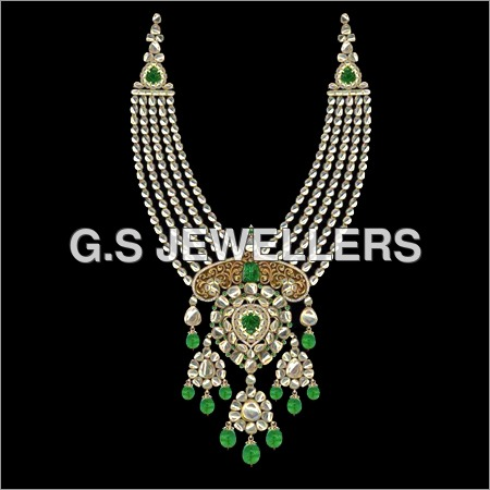 Kundan Meena Polki Line Necklace