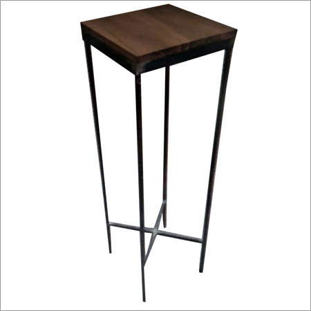 Wooden Top Wrought Iron Stool
