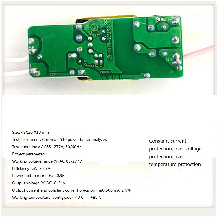 Built-in Led Driver Power Supply 6-10x3w Input Ac85-277v Output Dc18-34v/600ma±5%