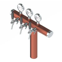Ink Pen Premium Tower with 3 Flow Control Taps & Illumination - Brushed Copper - Glyco Recirculation Loop+
