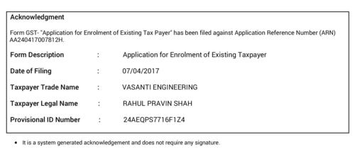 GST CERTIFICATE (VASANTI ENGINEERING)