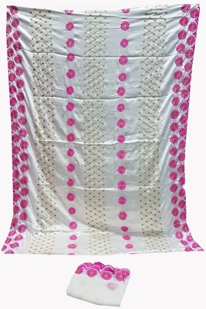 Silk Embroidery White Color with 3.5 Yard Silk embroidery and 2.25 Yard scarf head tie.