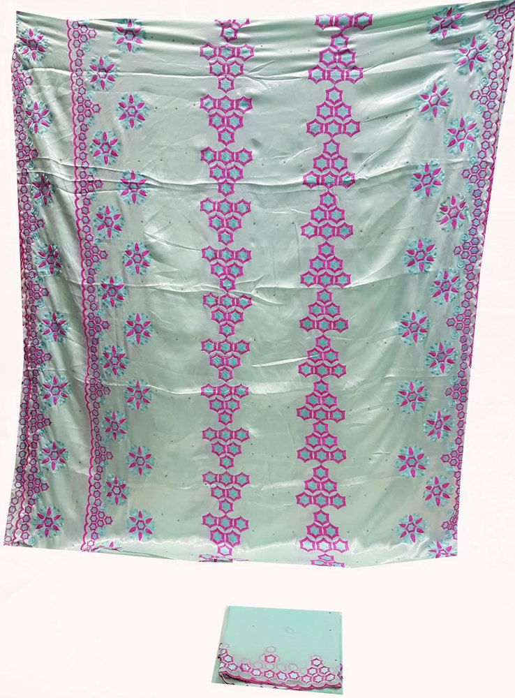 Silk Embroidery Light Blue Color with 3.5 Yard Silk embroidery and 2.25 Yard scarf head tie.