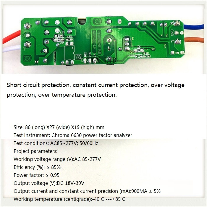 Built-in Led Driver Power Supply 6-12x3w Input Ac85-277v Output Dc18-39v/900ma±5%