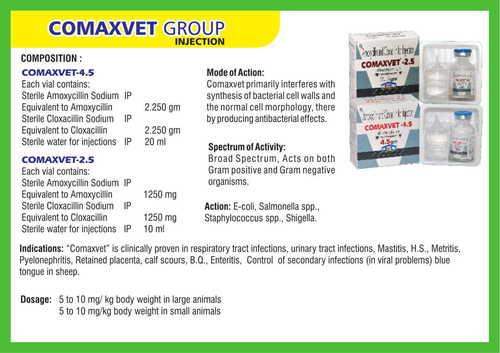 Amoxicillin and Cloxacillin for Injection (Comaxvet)