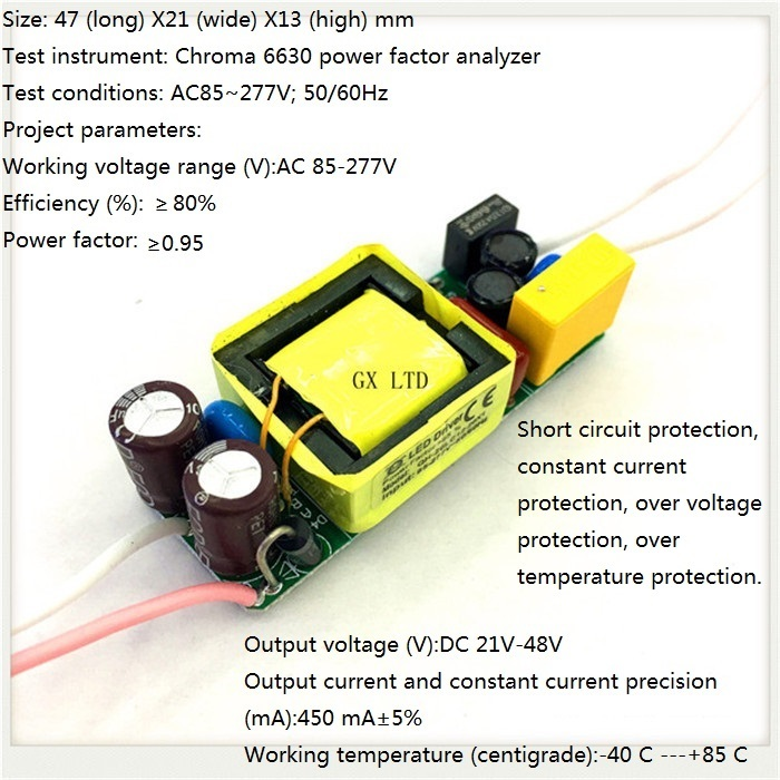 Built-in LED driver power supply 7-13X2W(CE) input AC85-277V output DC21-48V/450MA±5%