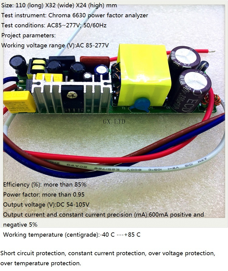 Built-in LED driver power supply 18-30X3W(CE) input AC 85-277V output 54-105V/600MA±5%