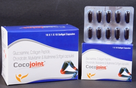 Glucosamine Collagen Peptide & Chondroitin Softgel Caps.