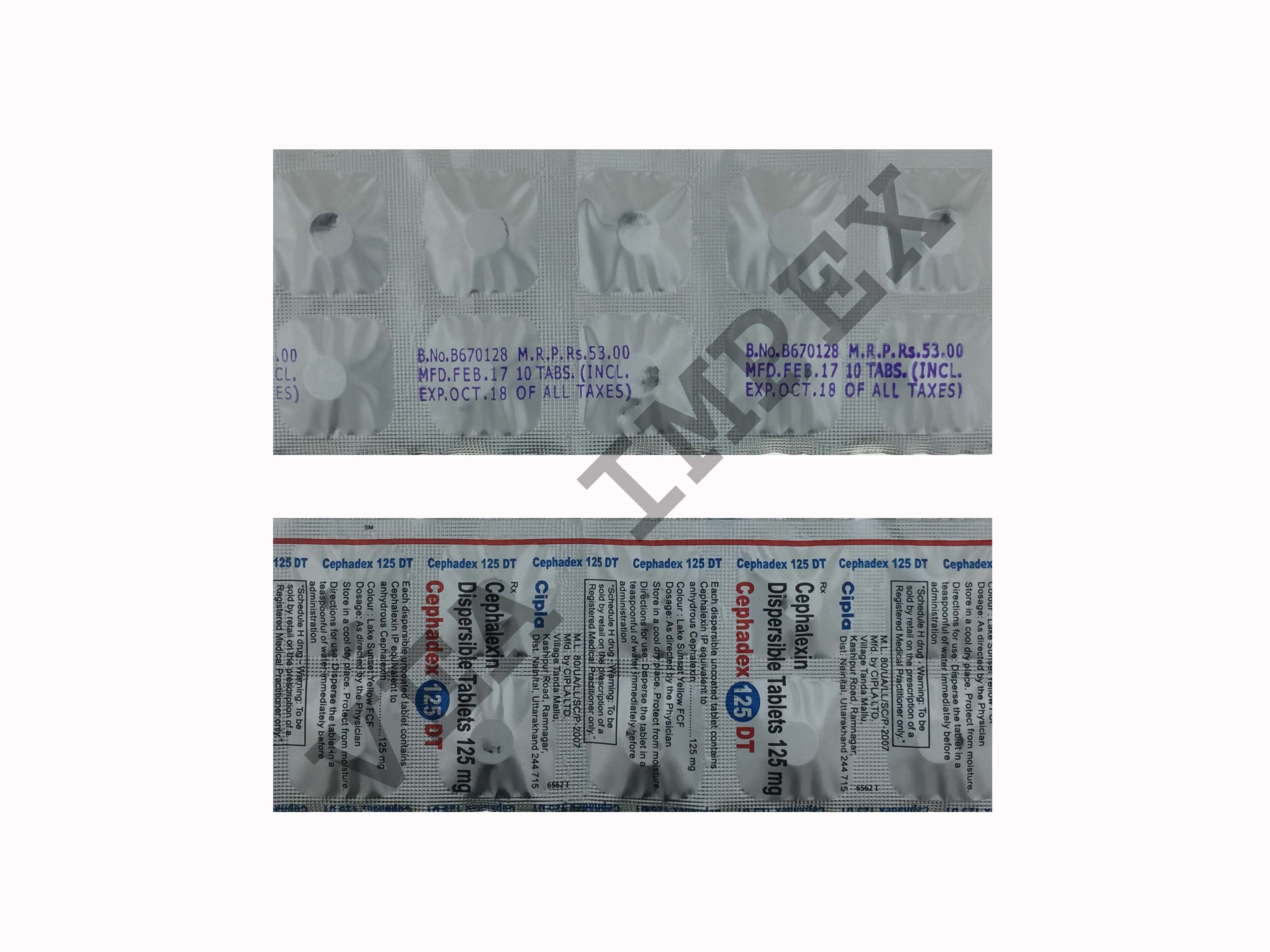 Cephadex 125mg(Cephalexin Dispersible Tablets)