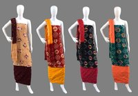 Cotton Handmade Bandhej Multi Ring Dress Material<