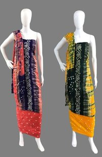 Cotton Handmade Bandhej With Shibori Dress Material<