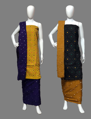 Computer Work Hand Made Bandhej Cotton Dress Material