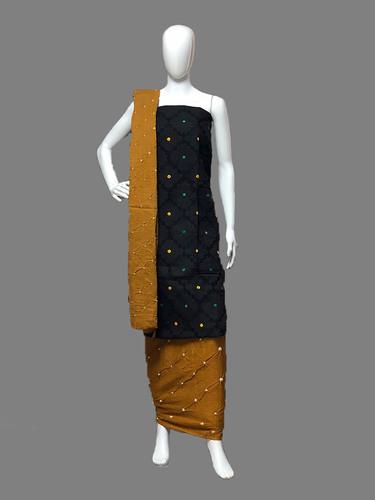 Computer Work Hand Made Bandhej Cotton Dress Material