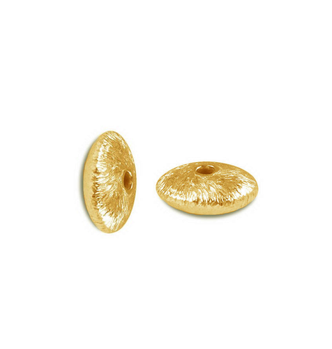 Brushed Gold Plated Rondelle Shape Bead - Gold Bead For Jewelry Making - Jewelry Findings Bead