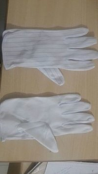 ANTISTATIC WHITE DOTTED GLOVES