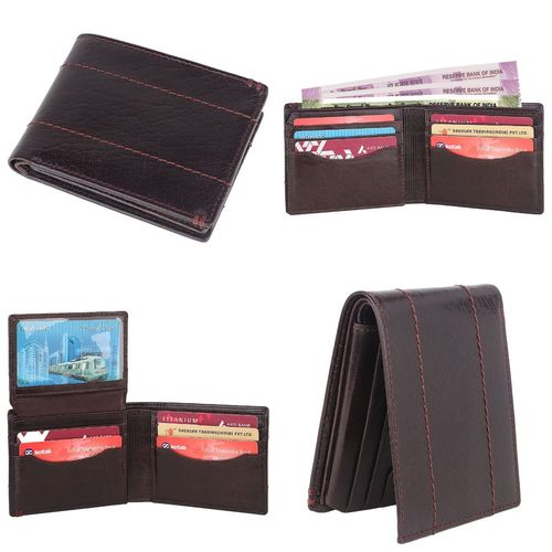 crunch designer genuine leather bifold wallet with trendy RFID blocking