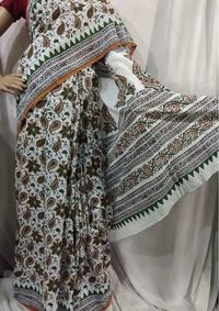 Pure cotton mulmul block printed Saree