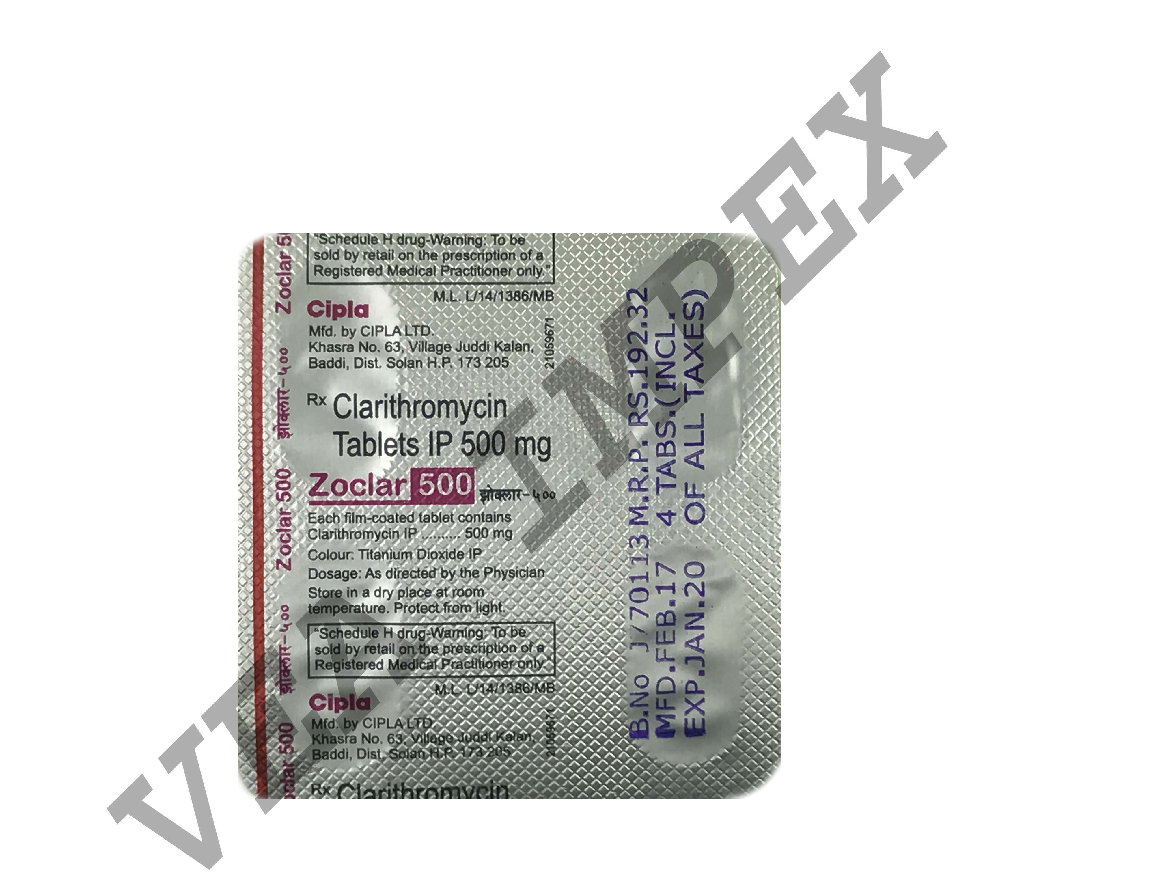 Zoclar Clarithromycin 500 mg Tablets