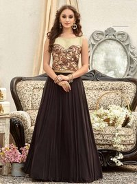 Maroon Raw Silk Printed Party A-Line Wholesale Gown