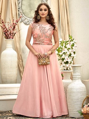 Pink Raw Silk Lace Party A-Line Wholesale Gown