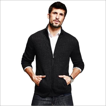Mens Zipper Knitted Sweatshirt