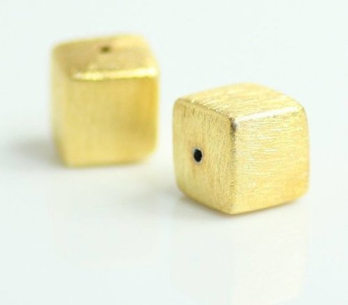 Brushed Gold Plated Square Shape Bead - Gold Bead For Jewelry Making - Jewelry Findings Bead