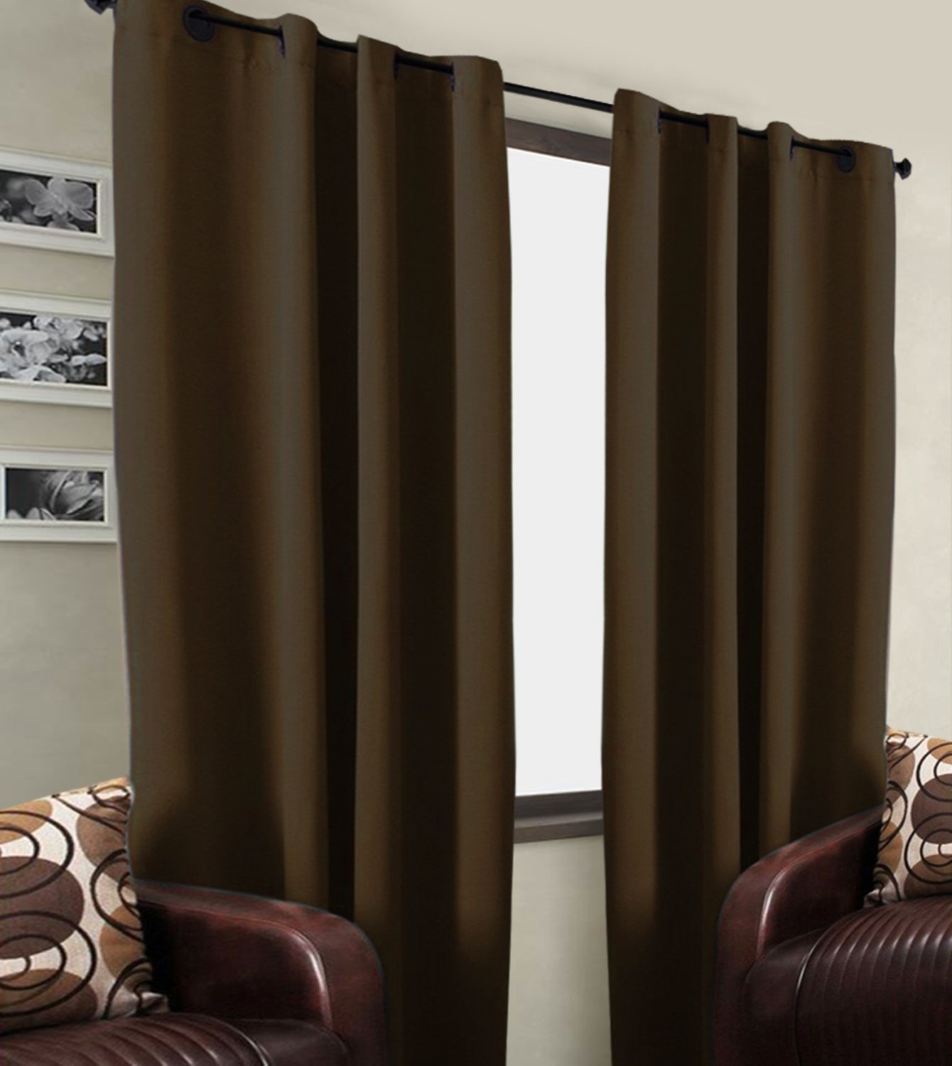 Kurtains2fly Blackout Curtain- 2-Panel Brown Color 4.5 x 9 ft (Brown, 4 x 6)