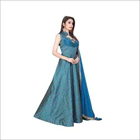 Ladies Sleevless Blue Gown