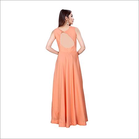 Ladies Sleevless Printed Gown