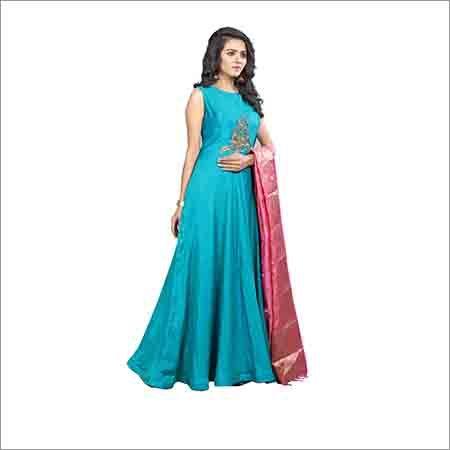 Ladies Sleevless Blue Gown