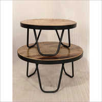 IRON & WOODEN COFFEE TABLE S 2