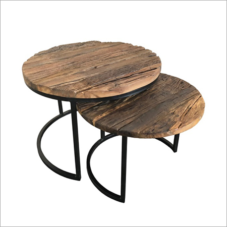 RAILWAY WOOD TOP WITH IRON LEG COFFEE TABLE SET2