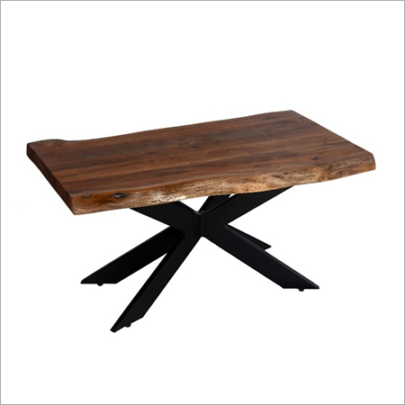 LIVE EDGE WOOD TOP WITH  DOUBLE 'X' IRON LEGS COFFEE TABLE00