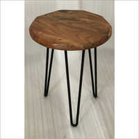 IRON & WOODEN SIDE TABLE