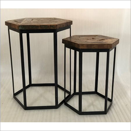 IRON & WOODEN SIDE TABLE S 2
