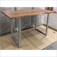 LIVE EDGE WOOD TOP WITH 'U' IRON LEGS DINING TABLE