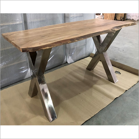 LIVE EDGE WOOD TOP WITH 'X' IRON LEGS DINING TABLE