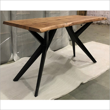 LIVE EDGE WOOD TOP WITH 'Y' IRON LEGS DINING TABLE